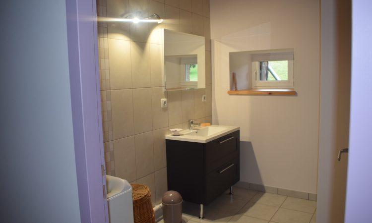 Salle de bain avec douche du gîte